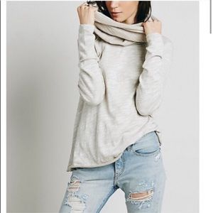 Free People Beach Cocoon Cowl Pullover Top Neutral